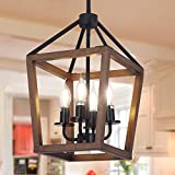 4-Light Rustic Chandelier, Farmhouse Lantern Pendant Light Fixture with Oak Wood and Iron Finish Vintage Island Light for Entryway,Dining Room,Hallway,Foyer(Adjustable Height)