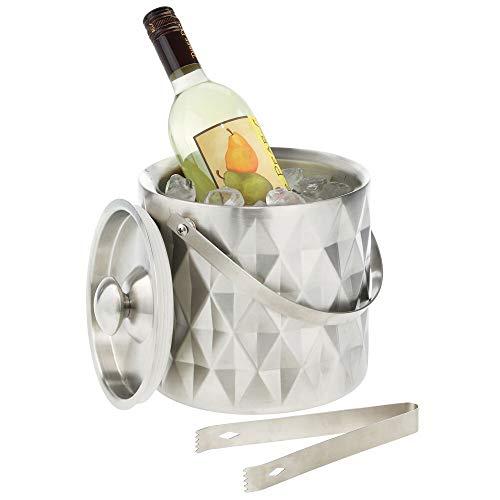mDesign Flaschenkühler aus Edelstahl – stilvoller Weinkühler mit Deckel, Henkel und Zange – doppelwandiger Eiskübel zur Kühlung von Wein, Sekt, Champagner & Co. – polierter Edelstahl