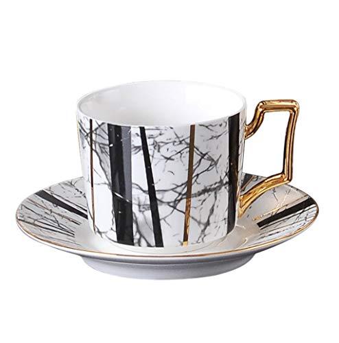 ZOUJIARUI Taza de té y platillo conjunto de taza de café con platillo, porcelana duradera para bebidas especiales de café, Latte, Café Mocha, juego de platos de taza de estilo pastoral (2 * taza de ca