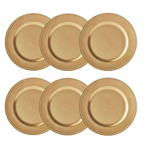 Round Beaded Decorative Charger Plates, 13 Inches Round, Set of 6, for Dining Table or Décor (Gold)
