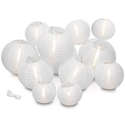 LyghtToned [12er Set] hochwertige, wiederverwendbare Lampions zur Dekoration inkl. [15 Meter Schnur] I Weiße Papierlampions für drinnen & draußen (versch. Größen) I Papierlampe
