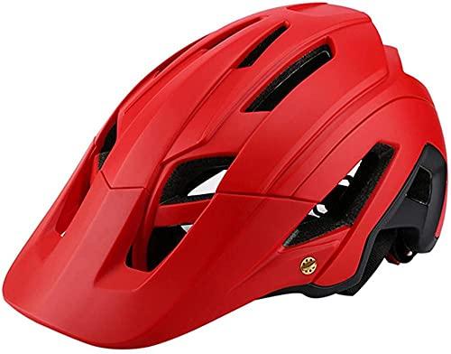 Casco Integral Adulto BMX Bike Mountain Biking - Casco Adulto Gran ventilación 53-63cm-Rojo