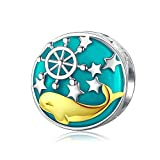 Sterling Silver Little Whale In The Sea Beads Chrams Fit Charm Bracelet Bangle Pendant
