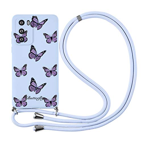 ZhuoFan Funda con Cuerda para Huawei P Smart 2019/Honor 10 Lite Carcasa de Silicona Suave Case con Colgante Cordon Colgar Correa de cuello para el teléfono Antichoque Bumper para Móvil 6.21''-mariposa