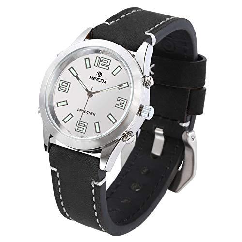 MEACOM Deutsch Sprechende Armbanduhr, Quarzwerk Blindeuhr mit Edelstahl Zifferblatt Lederband Zeitansage für Alter/Blinde/Optisch