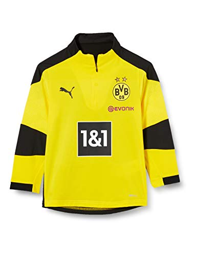 PUMA BVB Training 1/4 Zip Top Jr New T-Shirt, Cyber Yellow Black, 152