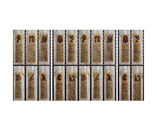 Set di 30 segnalibri di papiro egiziano, segnalibri educativi con alfabeti geroglifici e latini