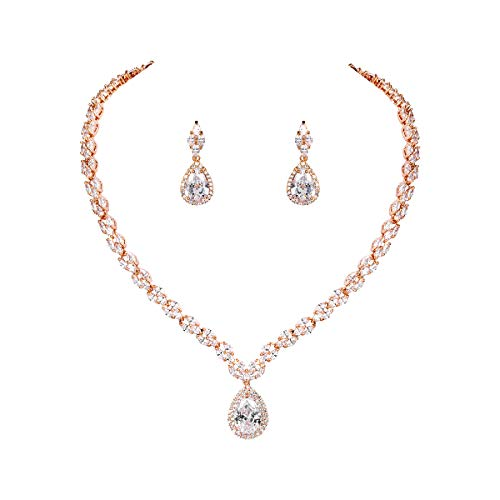 WeimanJewelry White Gold/Gold Plated Women Cubic Zirconia CZ Marquise Teardrop Bridal Tennis Necklace and Drop Earring Set for Wedding Brides Rose gold
