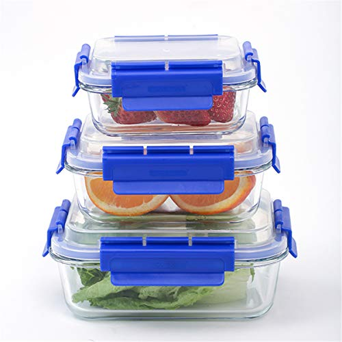 London Boutique Caja de almacenamiento de alimentos de vidrio premium con tapas herméticas sin BPA, a prueba de fugas, juego de 3 cuadrados y forma rectangular (azul rectangular)