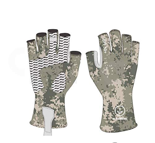 Camo UV Light Sun Protection Fingerless Fishing Gloves UPF50+ Men Women for Gym Work Out, Hunting, Kayaking, Hiking, Paddling, Driving, Canoeing, Rowing, Lifting Weights, Sculling
