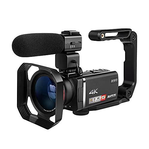 Camcorder 4K ORDRO AX60 Professioneller Livestream Videokamera mit 12X optischen Zoom 3,5 Zoll IPS Bildschirm HD 1080P 60FPS 4K HD Camcorder mit Mikrofon, Weitwinkelobjektiv, Handhalter