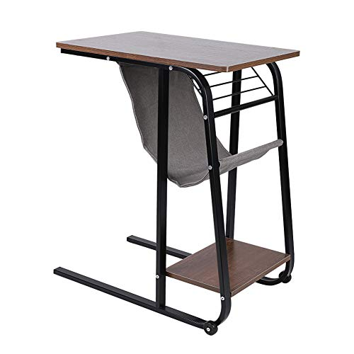 Overbed Table, Home Rolling Mobile Computer Laptop Desk Table Bed Table Over Bed Sofa Side Coffee Tea Snack End Table with Storage Bag Black