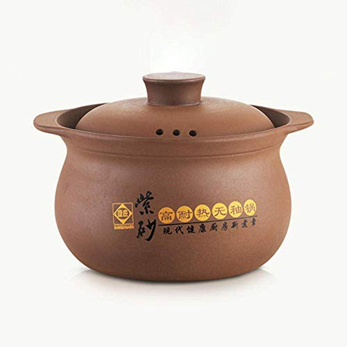 zyl Clay Casserole Clay Casserole Pot - Purple Casserole Soup Fornello a induzione Resistente alle Alte Temperature per Uso Domestico Fornello a Gas Pentola per stufato Universale-5.2L