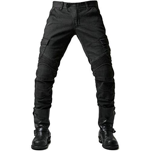 BEDSETS Pantalones De Moto Para Hombre, Pantalones De Mezclilla, Pantalones De Motocross, Jeans Con 2 Pares De Almohadillas Protectoras, Con Forro Protector (Black,4XL)
