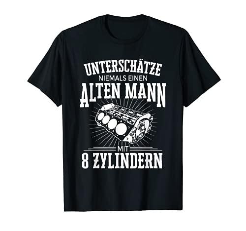 Herren Unterschätze Nie Alten Mann 8 Zylinder Tuning V8 Motor T-Shirt