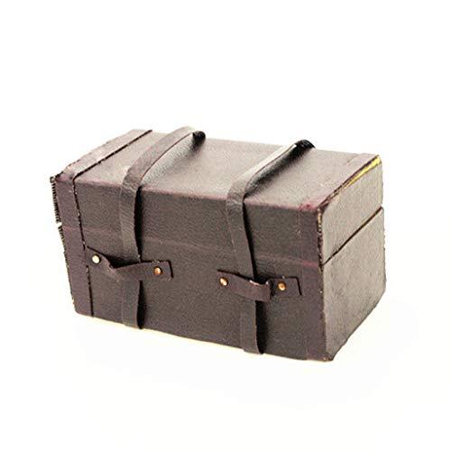 FiedFikt Mini-Koffer, Vintage-Design, Maßstab 1:12, Puppenhaus, Miniatur, Puppenhaus, Zubehör, Spielzeug, kreative Wohndekoration, Raum, Handarbeit, Geschenk für Kinder, Freunde