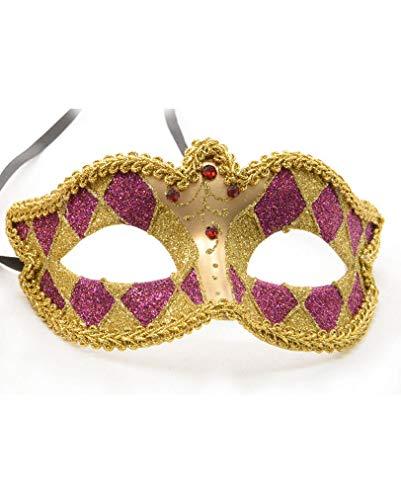 Masque vénitien Harlequin or/violet