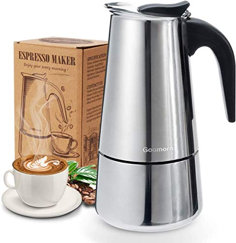 Godmorn Stovetop Espresso Maker, Italian Coffee Maker Moka Pot, 300ml/6 Cup (Espresso Cup=50ml), 430 Stainless Steel Classic Cafe Maker, Suitable for Induction Hob