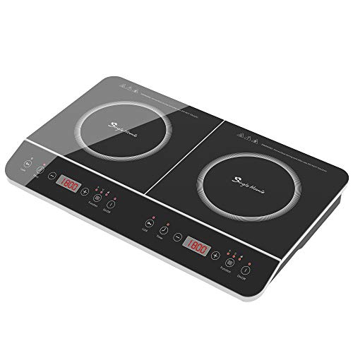 SINGLEHOMIE Double Induction Cooktop 2 Burner Portable Countertop Cooker Touch Sensor LED Display Plug-in 110-120V / 1800W