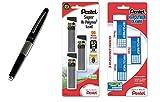 Pentel Sharp Kerry Mechanical Pencil, 0.50 mm, Metallic Black Barrel, 1 Unit (P1035A), with Lead and Eraser Refills (Bundle)