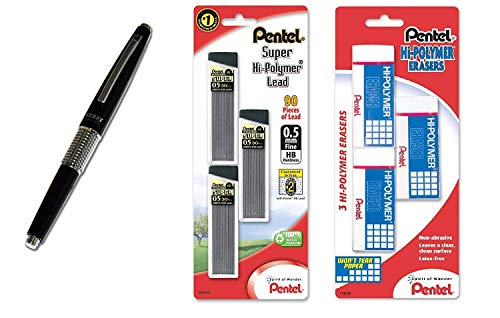 Pentel Sharp Kerry Mechanical Pencil, 0.50 mm, Metallic Black Barrel, 1 Unit (P1035A), with Lead and Eraser Refills (Bundle)