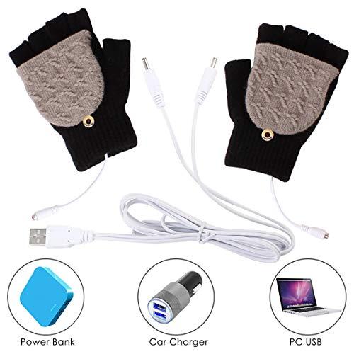 Yinuoday Unisex USB beheizte Handschuhe für Männer oder Frauen, Winter Stricken Hand warme Handschuhe Laptop-Handschuhe