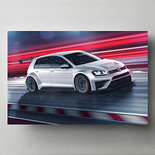 Poster Moderne Wandkunst Bild Golf GTI TCR Tuning Racing Sportwagen Leinwand Gemälde Poster und Drucke für Home Room Decor 50x70cm