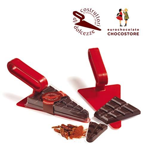 Eurochocolate CAZZUOLA con Tavoletta CIOCCOLATO Extra Fondente al PEPERONCINO (Paletta per Dolci)