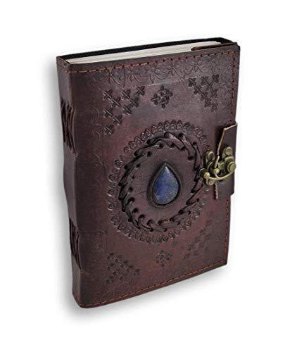 Jaald 18 cm Notizblock Notizen Notizbuch Seiten Handgemacht Album Tagebuch Leder mit Lederbezug Geschenke Antik Keltische Schliesse blauer Stein Kleine