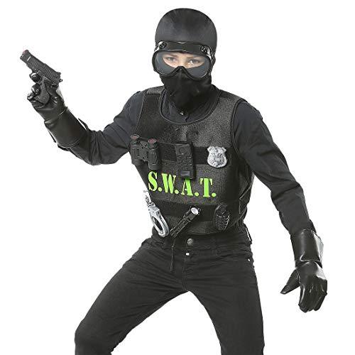 NET TOYS Aufregendes SWAT Kinderkostüm für Jungen - Schwarz - Vielseitige Kinder-Verkleidung Polizei-Kostüm mit Weste & Zubehör - Bestens geeignet für Mottoparty & Kinder-Karneval