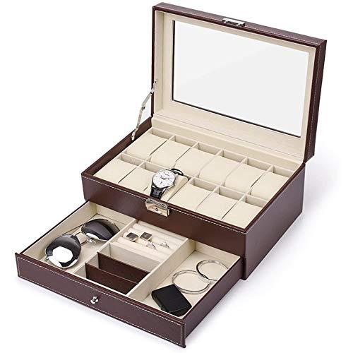 JIAYU Caja Relojes-Caja Reloj Caja De Reloj con Cajón 12 Ranuras La Caja De Almacenamiento De La Cubierta Protectora De PU Se Puede Utilizar para Almacenar El Teléfono con Anillo