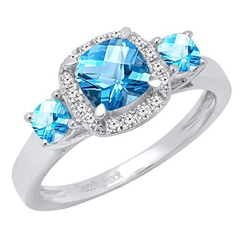 Dazzlingrock Collection 18K 6 MM Cushion Blue Topaz & Round Diamond Bridal 3 Stone Engagement Ring, White Gold, Size 4