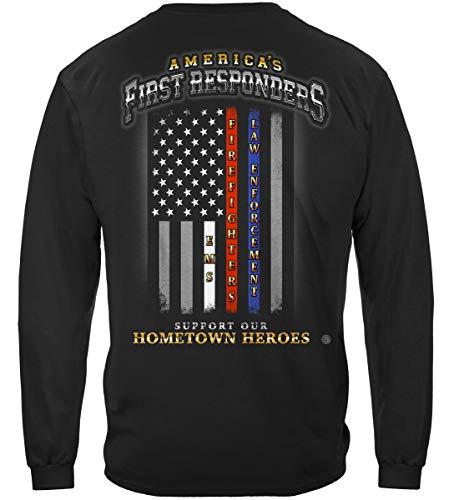 Paramedic T Shirt - First Responders - Thin Thin Red Line Long Sleeve Shirts -FF2352LSL