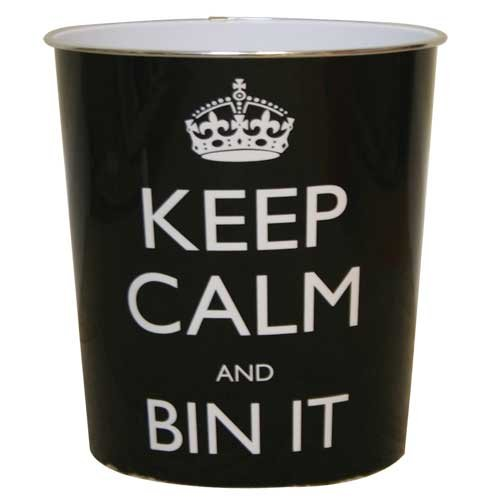 JVL - Cestino per la Carta con Scritta Keep Calm And bin it, 25 x 26,5 cm, Nero.