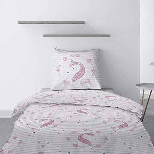Les Ateliers du Linge - Parure Rina pour lit Enfant - Housse de Couette 140x200 cm et 1 taie d'oreiller 63x63 cm - Motif imprimé Licorne Rose