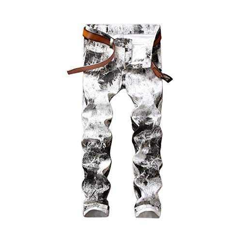 LNLW Gedrukt Casual Pants Male Slim Straight Fit Denim Jean White Pants Fashion (Size : 31)