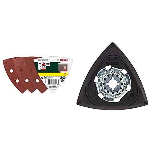 Bosch Professional 2607019500 Paquete de 25 lijas para lijadoras Delta (93 mm, grano 60, 120, 240) + Placa de lijado AVZ93G 2609256956 para todas las herramientas múltiples de PMF
