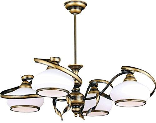 Messing Deckenleuchte Jugendstil aus Metall Glas Wohnzimmer edel 4-flammig SALLY Lampe Jugendstil...