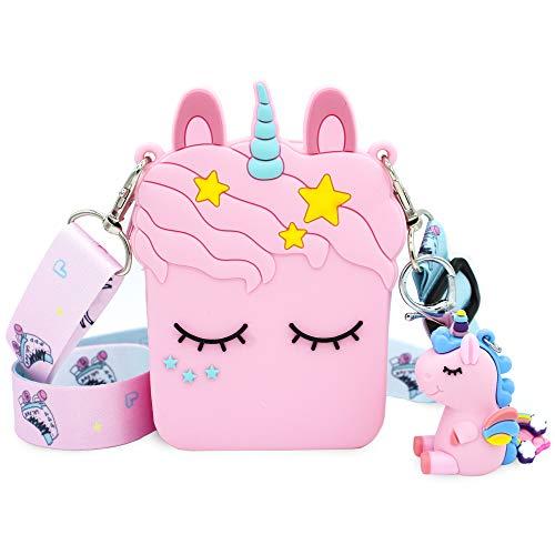 Bolso Unicornio para niñas. Tamaño de bolso: 8 x 4 x 11 cm. Correa de hombro ajustable.