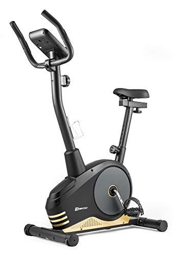 Hop-Sport Spark Heimtrainer Fahrrad - Fitnessgerät für Zuhause mit Pulssensoren & Computer, 8 Widerstandsstufen, Schwungmasse 9 kg - Fitnessbike für EIN max. Nutzergewicht von 120kg Gold