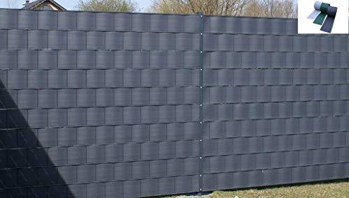 Siktskyddsremsor av polypropylen för dubbla mattor trädgårdsstängningsfolie vindskydd stänger blicktätt grön (RAL 6005) - 50 m