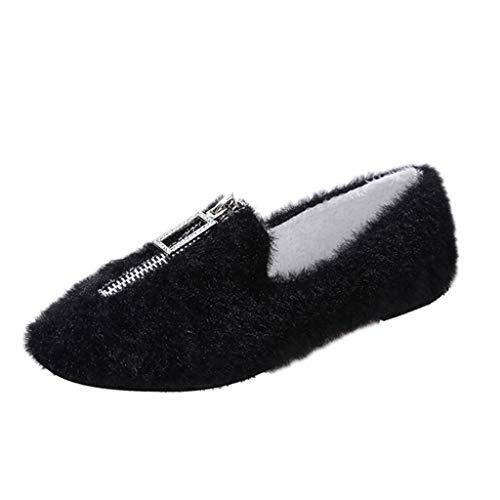 Deloito Herbst Winter Mokassins Damen Mode Bequeme Wander Einzelschuhe Plus Samt Halbschuhe Frontreißverschluss Loafers Runder Zeh Flache Schuhe (Schwarz,39 EU)