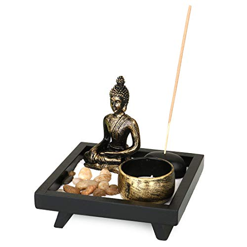 Jessie Tabletop Zen Garden Resin Buddha Incense Holder with 3PCs Incense Sticks, Sand, Cobblestone, Rock Garden Candle Holders for Home Decor