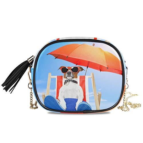 XiangHeFu Münztasche Telefon Tasche Große Kapazität Geldbörse Kartenhalter Netter Hund Sonnenbaden Auf Deck Stuhl Brieftasche