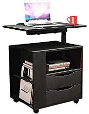 SogesHome Bedside Table with Swivel Shelf Cabinet Bedroom Furniture Nightstand Table Chest Drawer Storage Cabinet with Lockable Universal Caster,NSDCA-CT1-P