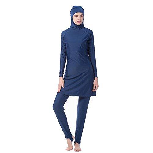Hzjundasi Middle East musulmán Modesto Cubierta Completa Sun Protection 2-Piezas bañador Bathing Suit islámico árabe Malasia Hijab Traje de baño Burkini Beachwear para Mujer (Color:Azul,Talla:L)