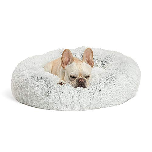 Hondendonut - Luxe katten & hondenmand - Donut - Heerlijk zacht - Fluffy - Licht grijs - 100 cm - Size L