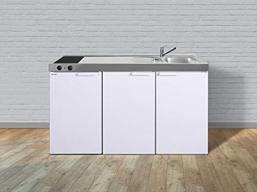 Stengel Miniküche Kitchenline MK 150 kleine Küchenzeile mit Kühlschrank und Kochfeld, Pantryküche, Kompaktküche - Farbe: weiß/Breite: 150cm