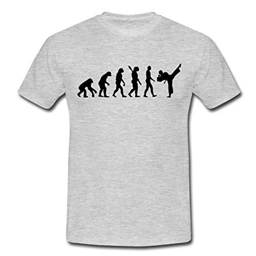 Evolution Karate Männer T-Shirt, L, Grau meliert