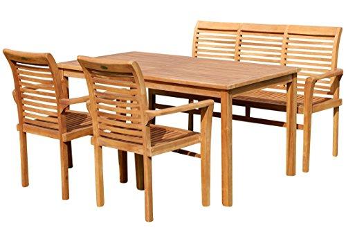 ASS Teak Set: Gartengarnitur Gartentisch 150x80 cm + 1 Bank 150 cm für 3 Personen + 2 Sessel Serie JAV-Alpen